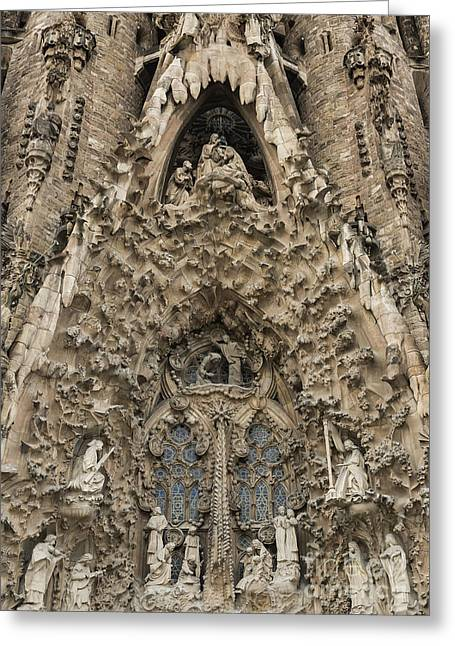 Curvilinear Greeting Cards - Basilica Sagrada Familia Greeting Card by John Greim