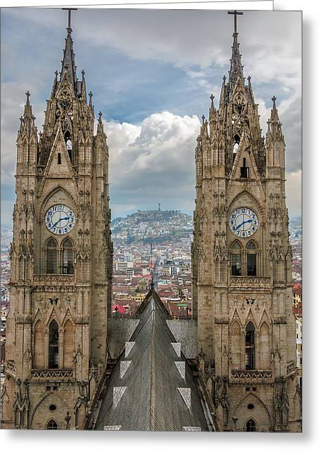 Neogothic Greeting Cards - Basilica Towers Greeting Card by Jess Kraft