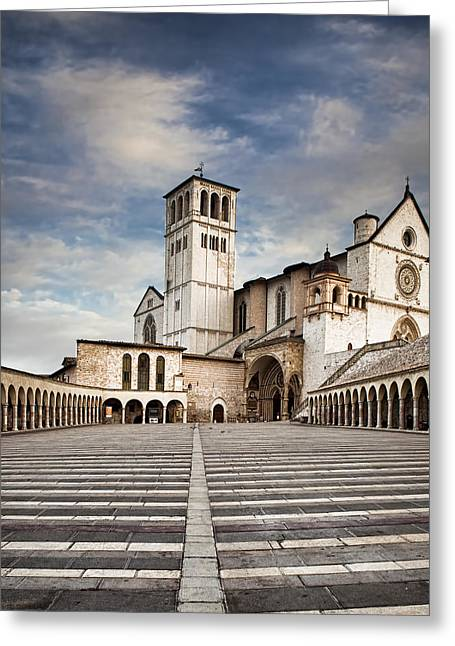 D Greeting Cards - Basillica of St Francis of Assisi in Italy Greeting Card by Susan  Schmitz