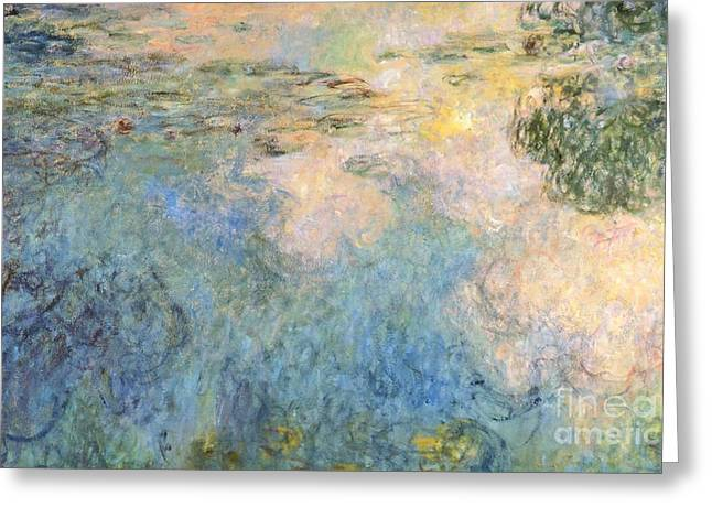 1874 Greeting Cards - Basin of water lilies Greeting Card by Claude Monet