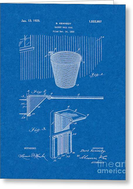 Basket Ball Greeting Cards - Basket-ball Goal Patent - Blueprint Greeting Card by BJ Simpson