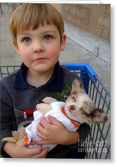 Basket Boy And Puppy Greeting Card by Cadence Spalding