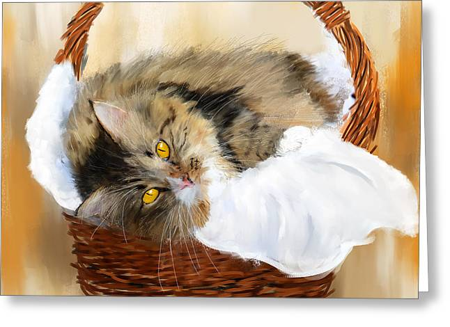 Feline Art Greeting Cards - Basket Case Greeting Card by Lourry Legarde