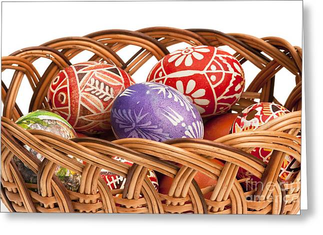 Pannier Greeting Cards - basket fulL of Ester Eggs Greeting Card by Michal Boubin