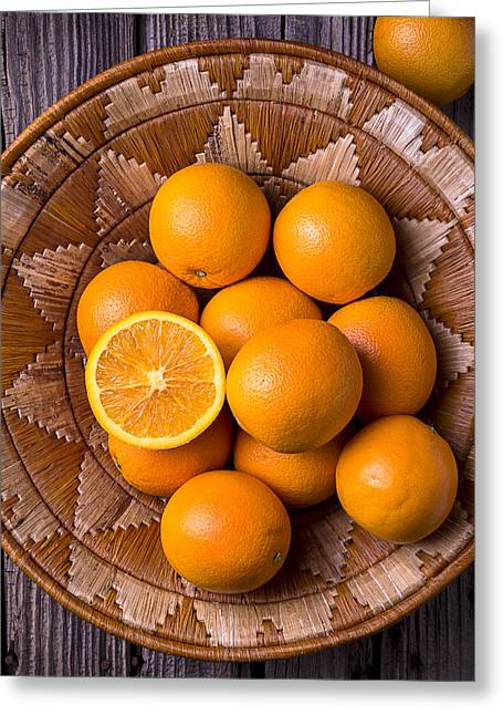 Basket Photographs Greeting Cards - Basket Full Of Oranges Greeting Card by Garry Gay