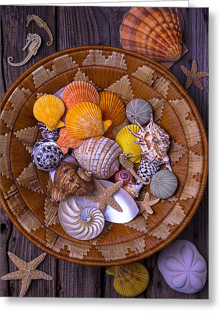 Shell Texture Greeting Cards - Basket Full Of Seashells Greeting Card by Garry Gay