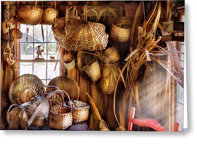 Basket Maker - I like weaving Greeting Card by Mike Savad