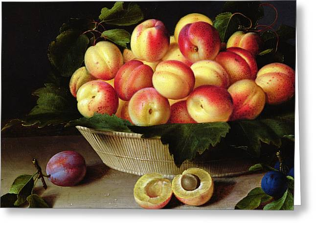Apricots Paintings Greeting Cards - Basket of Apricots Greeting Card by Louise Moillon