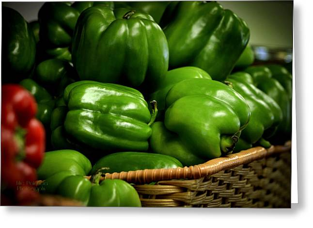 Basket Of Bell Peppers Greeting Card by Julie Palencia