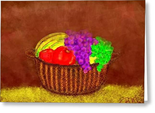Banana Pastels Greeting Cards - Basket of Bounty Greeting Card by Renee Michelle Wenker