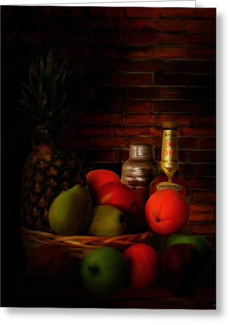 Fruit And Wine Digital Greeting Cards - Basket Of Colors Greeting Card by Lourry Legarde