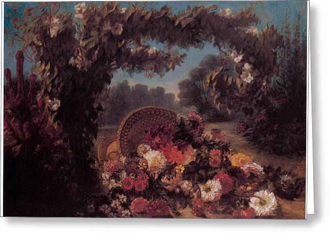 Basket of Flowers in a Park Greeting Card by Eugene Delacroix