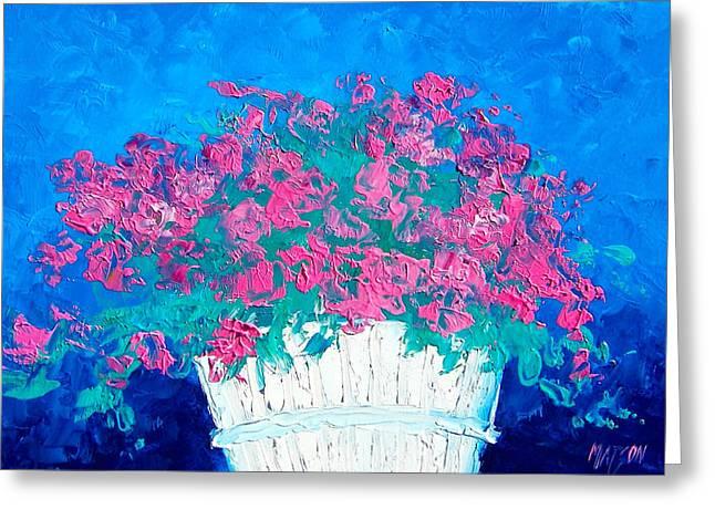 Pink Flower Prints Greeting Cards - Basket of Flowers Greeting Card by Jan Matson