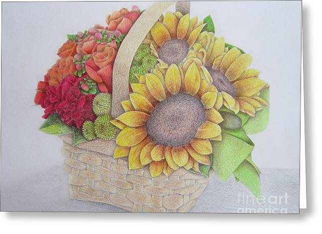 Yellow Sunflower Greeting Cards - Basket of Flowers Greeting Card by Sharon Patterson