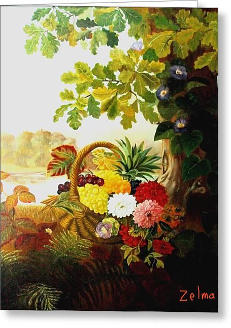 Zelma Hensel Greeting Cards - Basket of flowers under the tree Greeting Card by Zelma Hensel