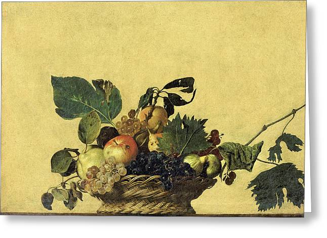 Basket Of Fruits Greeting Cards - Basket of Fruit Greeting Card by Caravaggio