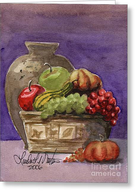 Stoneware Paintings Greeting Cards - Basket of Fruit Greeting Card by Linda L Martin