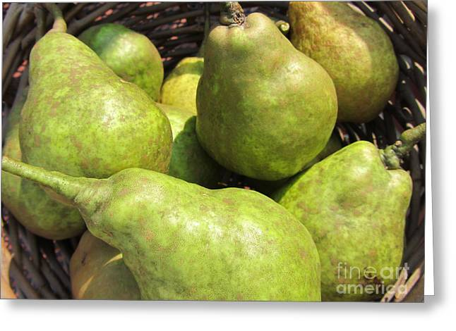 Local Food Greeting Cards - Basket Of Green Pears Greeting Card by Susan Carella