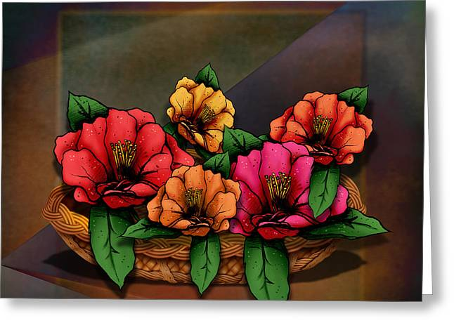 Basket Of Hibiscus Flowers Greeting Card by Bedros Awak