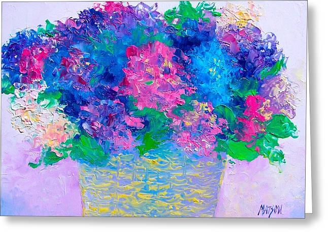Interior Still Life Greeting Cards - Basket of Hydrangeas Greeting Card by Jan Matson