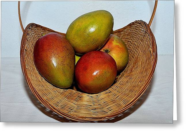 Mango Greeting Cards - Basket of Mangoes Greeting Card by Samuel James