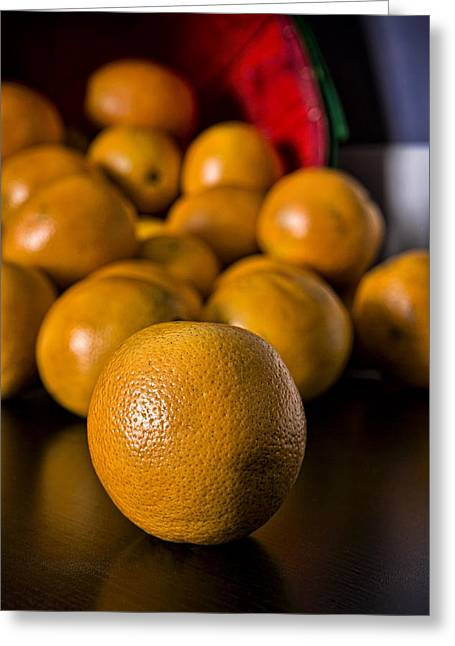 Tangerine Greeting Cards - Basket of Oranges Greeting Card by Jeff Burton