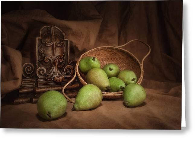 Harvest Art Greeting Cards - Basket of Pears Still Life Greeting Card by Tom Mc Nemar