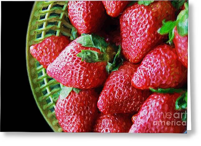 Baskets Of Strawberries Greeting Cards - Basket Of Strawberries Greeting Card by Andee Design