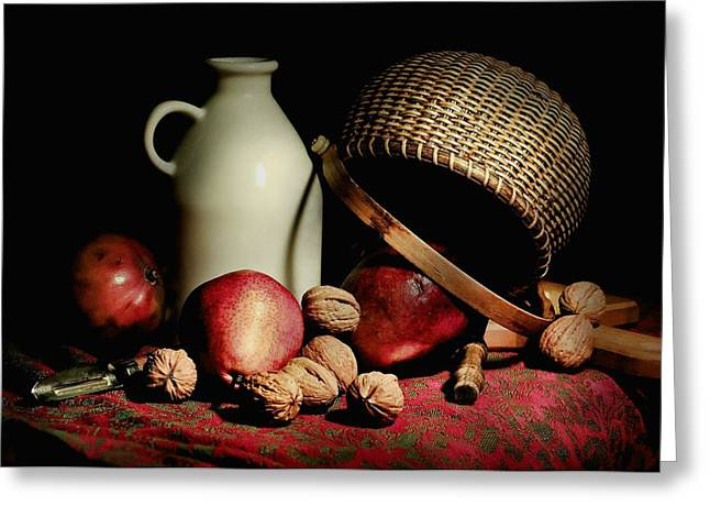 Table Top Still Life Greeting Cards - Basket Weave Greeting Card by Diana Angstadt