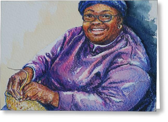 Basket Weaver in Blue Hat Greeting Card by Sharon Sorrels