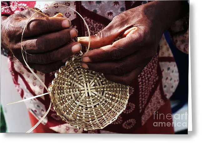 Basket Maker Greeting Cards - Basket Weaver Greeting Card by Thomas R Fletcher