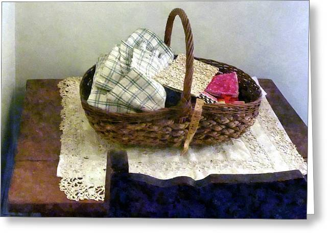 Tailor Greeting Cards - Basket With Cloth and Measuring Tape Greeting Card by Susan Savad