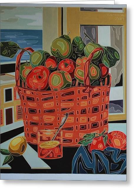 Basket With Fruit Greeting Card by Varvara Stylidou
