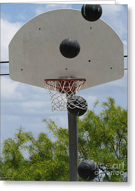 Basketballs Greeting Cards - Basketball - All Net Greeting Card by Ella Kaye Dickey