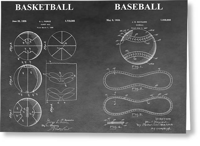 Slamdunk Greeting Cards - Basketball And Baseball Patent Drawing Greeting Card by Dan Sproul