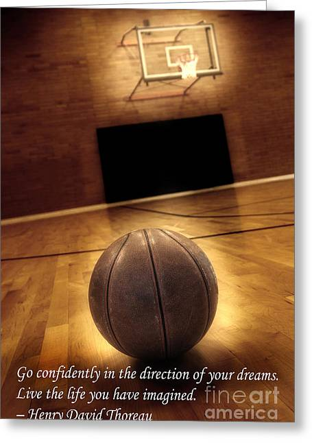 Basket Ball Game Greeting Cards - Basketball and Success Greeting Card by Lane Erickson