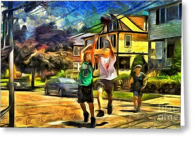 Basket Ball Game Digital Greeting Cards - Basketball at home Greeting Card by Magomed Magomedagaev
