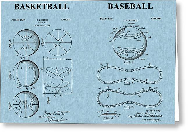 Slamdunk Greeting Cards - Basketball Baseball Patent Blue Greeting Card by Dan Sproul