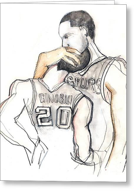 Basketball Brothers Greeting Card by Carolyn Weltman