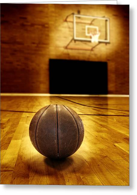Basket Ball Game Greeting Cards - Basketball Court Competition Greeting Card by Lane Erickson