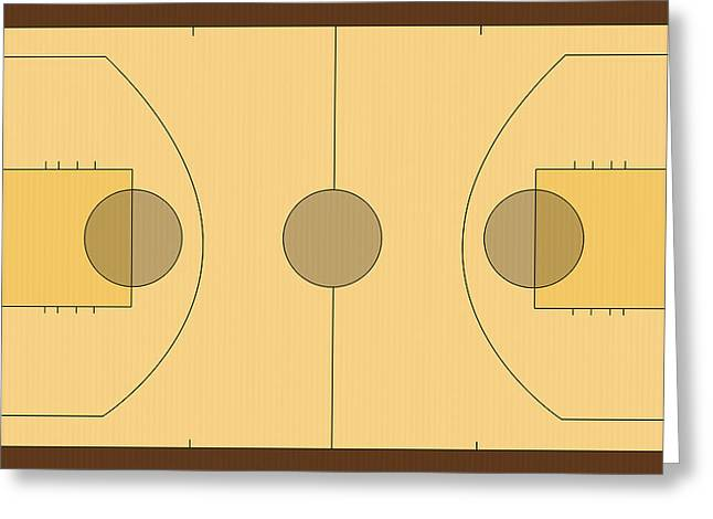 Basket Ball Game Greeting Cards - Basketball court Greeting Card by Modern Art Prints