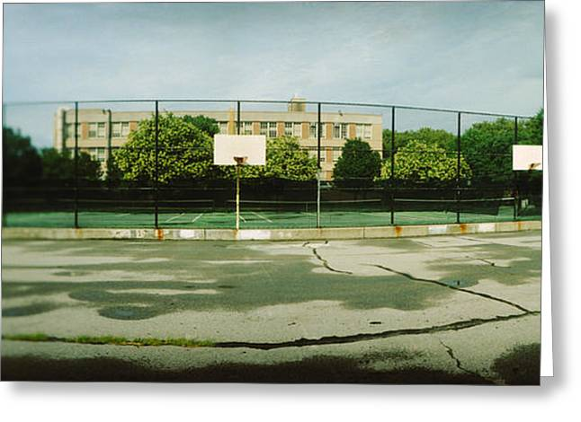 Basketball Photographs Greeting Cards - Basketball Court In A Public Park Greeting Card by Panoramic Images
