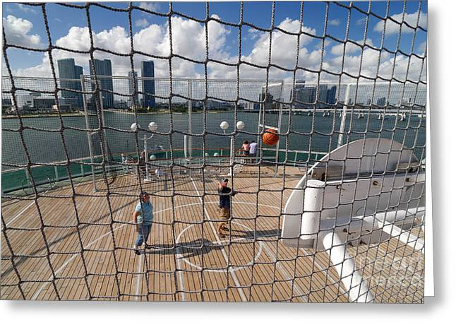 Basketball Court on Cruise Ship Greeting Card by Amy Cicconi