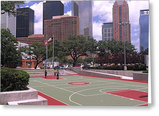 Basketballs Greeting Cards - Basketball Court With Skyscrapers Greeting Card by Panoramic Images