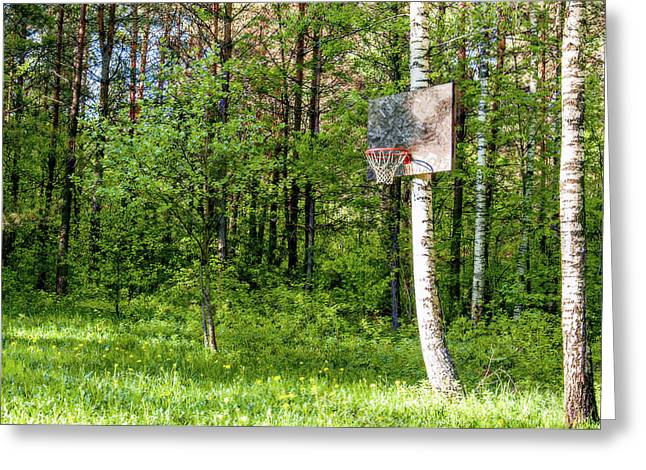 Basket Ball Game Greeting Cards - Basketball Forest Court Greeting Card by Yevgeni Kacnelson