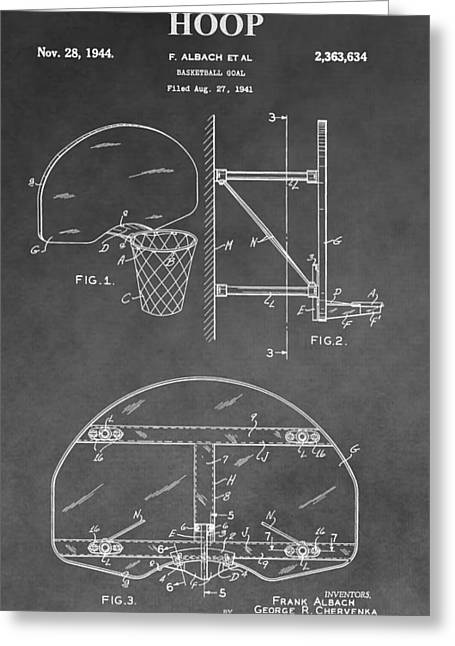 Goal Line Greeting Cards - Basketball Goal Patent Greeting Card by Dan Sproul