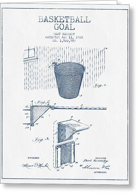Basketballs Greeting Cards - Basketball Goal patent from 1925 - Blue Ink Greeting Card by Aged Pixel
