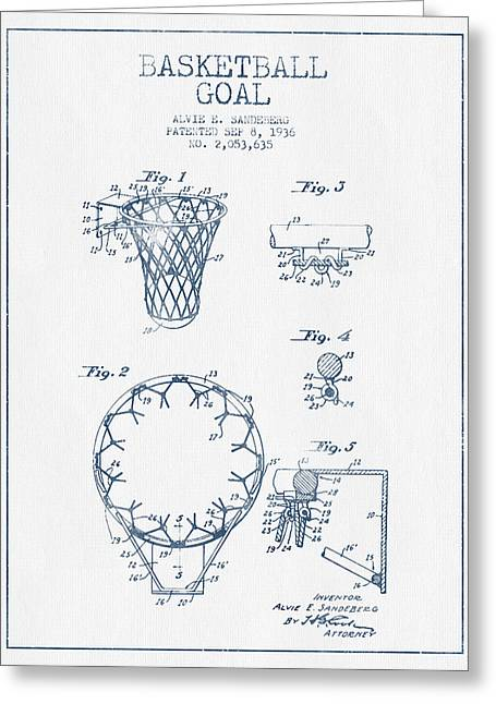 Dunk Greeting Cards - Basketball Goal patent from 1936 - Blue Ink Greeting Card by Aged Pixel