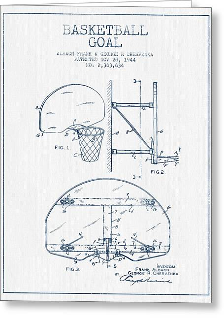 Nba Art Greeting Cards - Basketball Goal patent from 1944 - Blue Ink Greeting Card by Aged Pixel