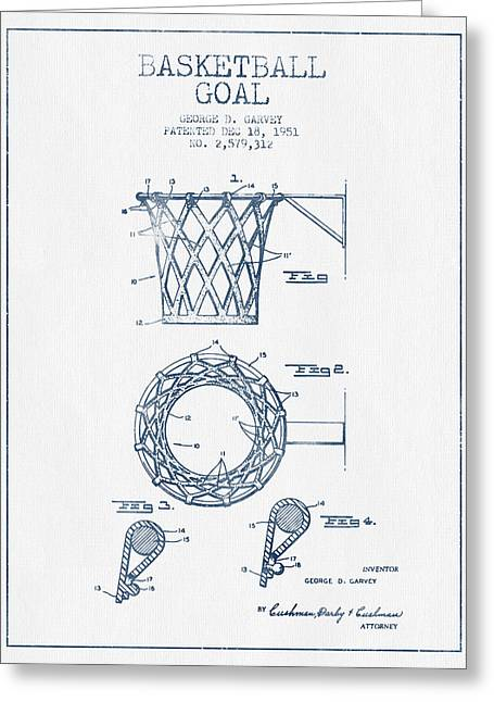 Basketballs Greeting Cards - Basketball Goal patent from 1951 - Blue Ink Greeting Card by Aged Pixel